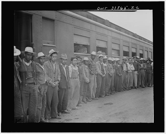 Mexican workers recruited and brought to the Arkansas valley, Colorado, Nebraska and Minnesota by the FSA (Farm Security Administration), to harvest and process sugar beets under contract with the Inter-mountain Agricultural Improvement Association