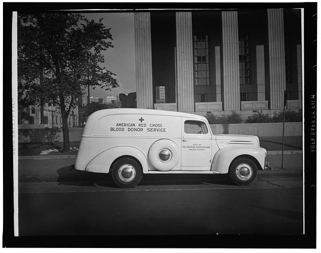 Noston, Massachusetts. An American Red Cross ambulance used by the blood donor service