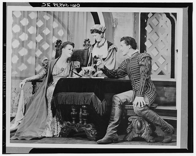 "[Scene from ""Othello"" with Uta Hagen as Desdemona (left), Margaret Webster as Emilia, and Jack Manning(?) as Roderigo, Theatre Guild Production, Broadway, 1943-44]"
