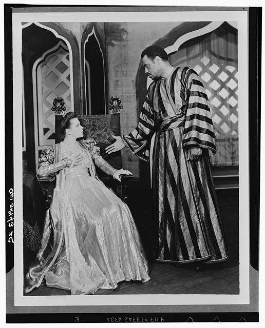 "[Scene from ""Othello"" with Paul Robeson as Othello and Uta Hagen as  Desdemona, Theatre Guild Production, Broadway, 1943-44]"