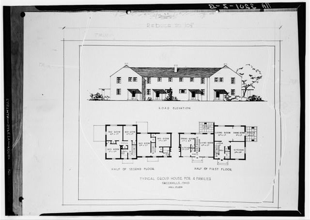 Drawing and plan for four-family house. Greenhills, Ohio
