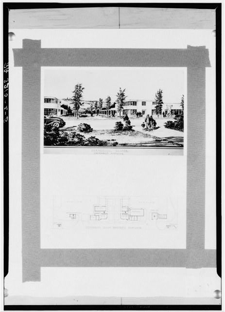Drawing and plan of commercial center. Greenbelt, Maryland
