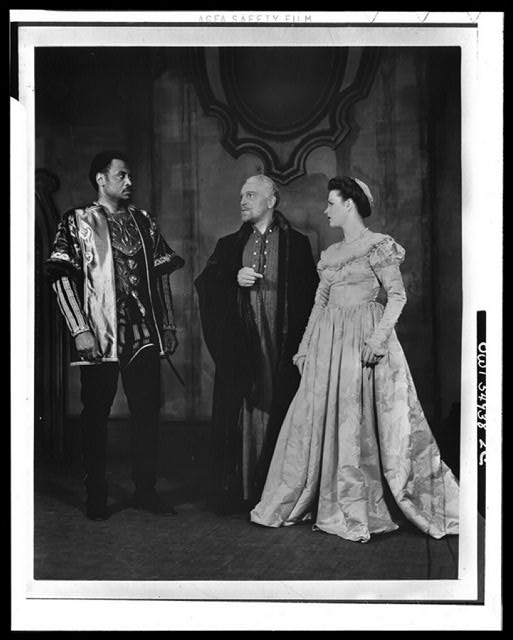 "[Scene from ""Othello"" with Paul Robeson (left) as Othello and Uta Hagen as Desdemona, Theatre Guild Production, Broadway, 1943-44]"