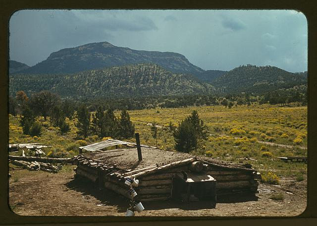 Dugout house of Faro Caudill, homesteader with Mt. Allegro in the background, Pie Town, New Mexico
