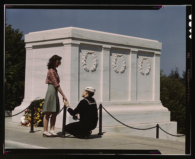 Sailor and girl at the Tomb of the Unknown Soldier, Washington, D.C.