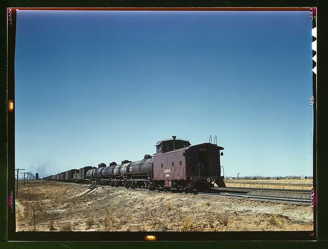 Santa Fe R.R. west bound freight stopping for water, Melrose, N[ew] Mex[ico]