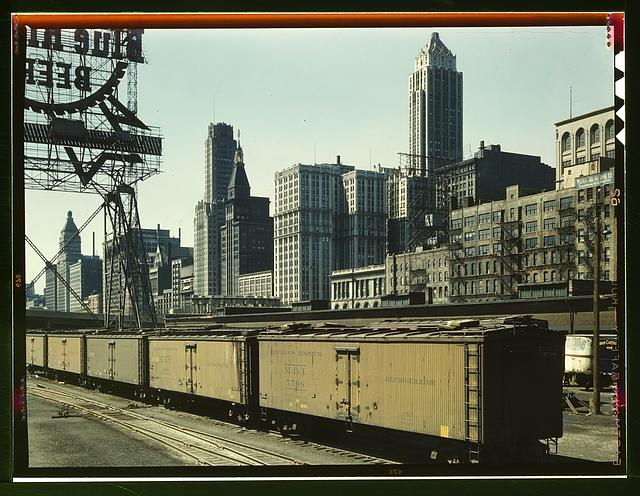 General view of part of the South Water street Illinois Central Railroad freight terminal, Chicago, Ill.