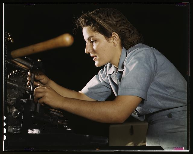 Mary Louise Stepan, 21, used to be a waitress. She has a brother in the air corps. She is working on transport parts in the hand mill, Consolidated Aircraft Corp., Fort Worth, Texas