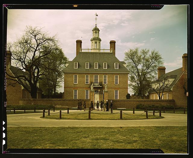 The Governor's Palace, Williamsburg, Va. The capitol of the Virginia colony during the 18th century which was reconstructed and restored to its original state by John D. Rockefeller, Jr., during the 1930s