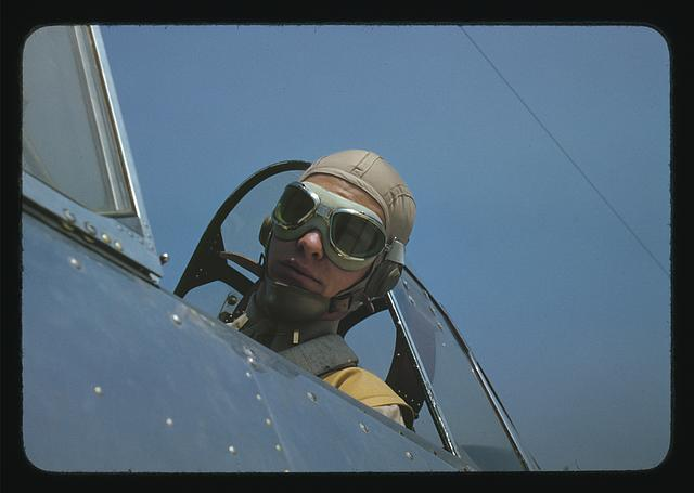 Marine lieutenant, glider pilot in training, ready for take-off, at Page Field, Parris Island, S.C.