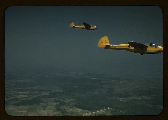 Marine Corps gliders being towed from Page Field, Parris Island, S.C.