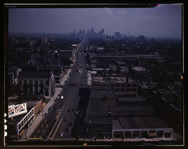 Looking south from the Maccabees Building with the Detroit skyline in the distance, Detroit, Mich.