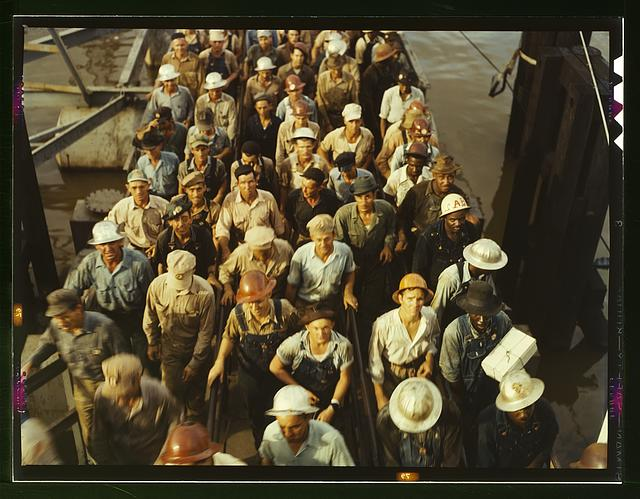 Workers leaving Pennsylvania shipyards, Beaumont, Texas