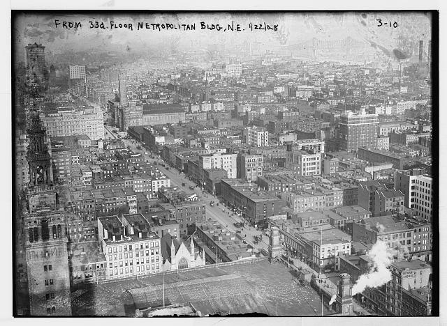View from 33rd floor of Met. Bldg., N.E., New York