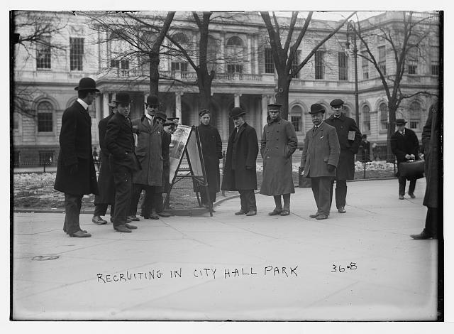 Recruiting in City Hall Park, [New York]