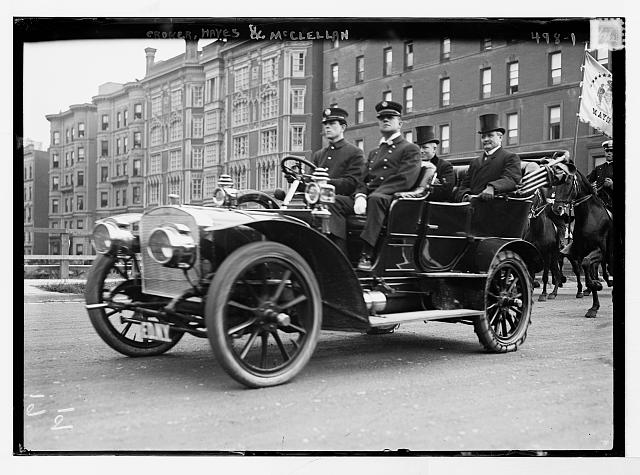 Croker, Hayes and Mayor McClellan in carriage, New York