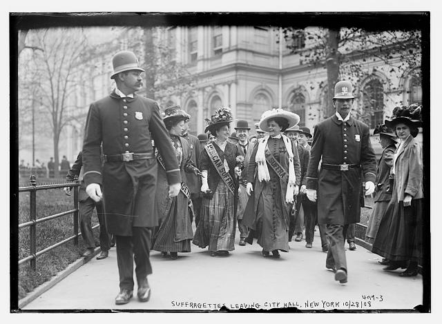 Suffragettes leaving City Hall, New York