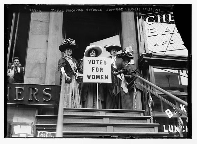 Trixie Friganza between suffrage leaders [New York]