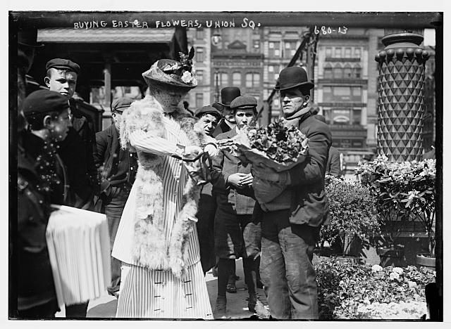 Buying Easter flowers in Union Square, New York