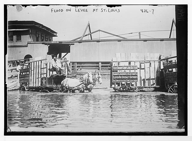 Horse-drawn shoe wagons flooded levee, St. Louis
