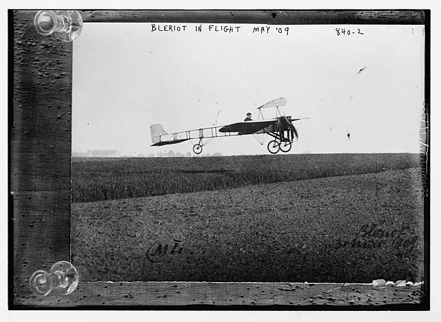 Bleriot, in flight over field