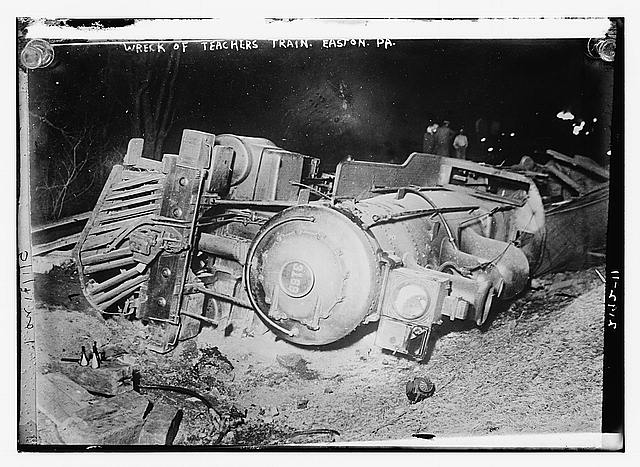Wreck of teachers train