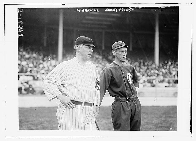 [John McGraw, New York NL, (left) & Johnny Evers, Chicago NL, (right) at Polo Grounds, NY (baseball)]