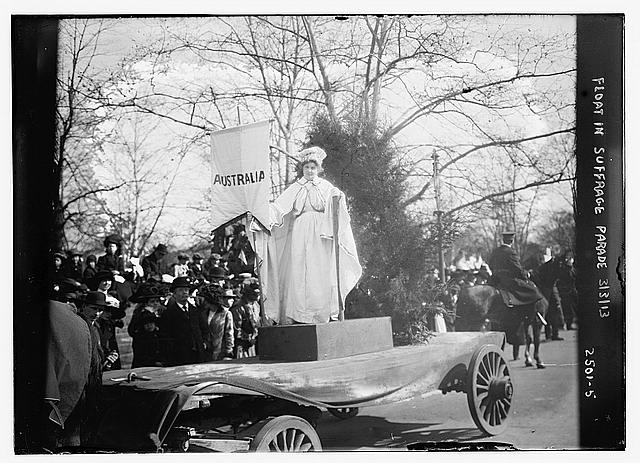 Float in suffrage parade