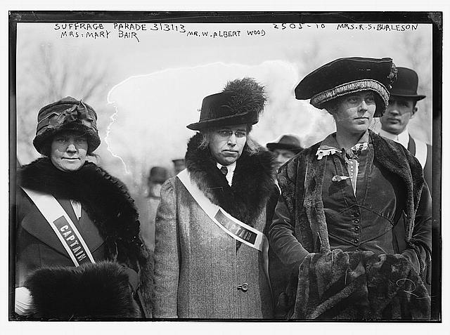 Suffrage parade - Mrs. Mary Bair, Mr[s]. W. Albert Wood, and Mrs. R.S. [i.e., Richard Coke] Burleson