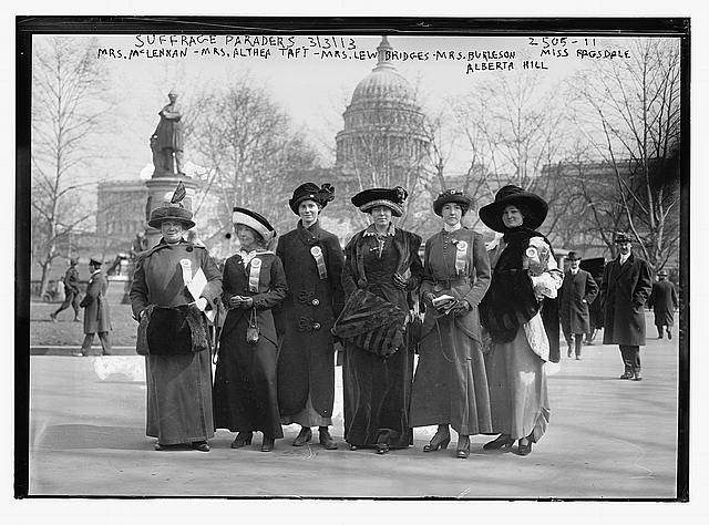 Suffrage paraders: Mrs. McLennan, Mrs. Althea Taft, Mrs. Lew Bridges, Mrs. Burleson, Alberta Hill, Miss Ragsdale