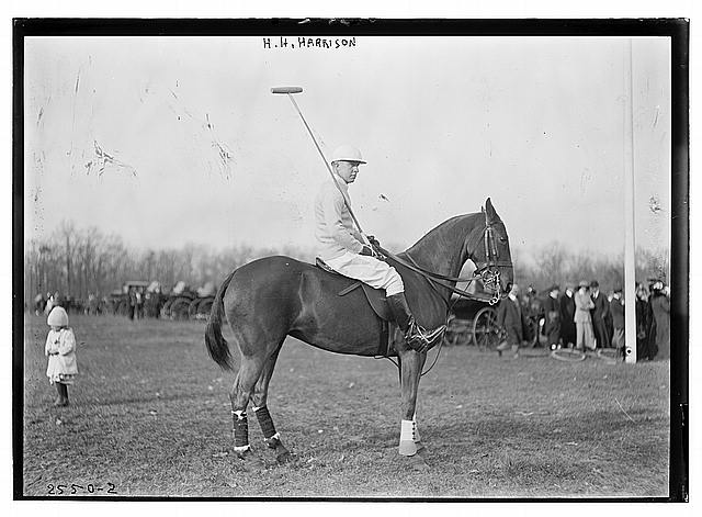 H.H. Harrison [on horse] - polo