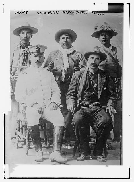 Gen. Alfaro Obregon & staff of Yaquis
