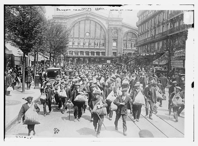 Belgian Reservists leaving Gare de l'Est [i.e., Gare du Nord]