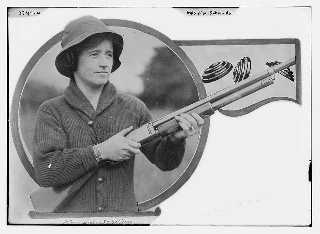 Mrs. Ada Schilling [with rifle]