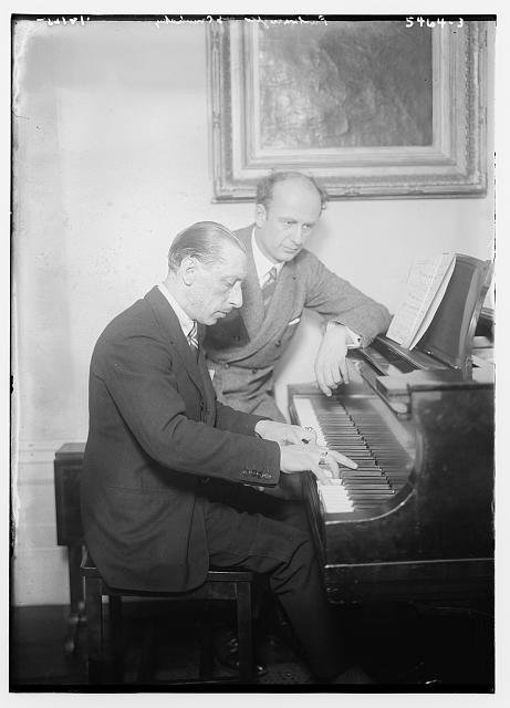Stravinsky and Fulwaagder at piano