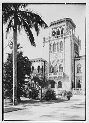 John Ringling, residence in Sarasota, Florida. Palm left and tower