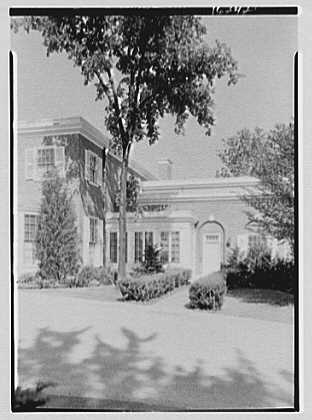 Roy D. Chapin, residence at 447 Lake Shore, Grosse Pointe Farms, Michigan. Entrance facade, vertical detail, breakfast porch