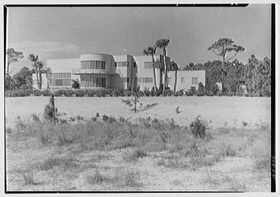 Miss Judy King, residence in Sea Island, Georgia. General ocean facade, distant from left