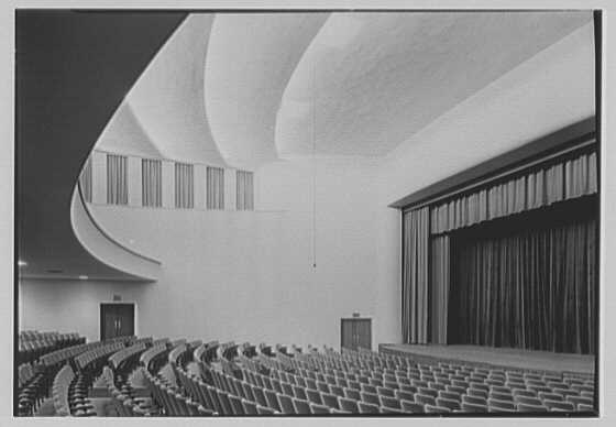 Connecticut College auditorium, New London, Connecticut. Interior by night, from below