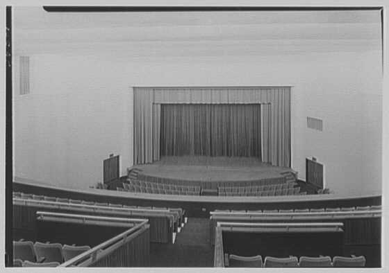 Connecticut College auditorium, New London, Connecticut. Interior to stage, from balcony
