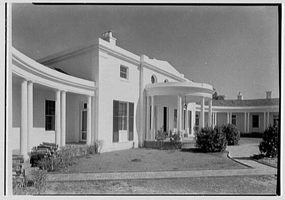 Mrs. George F. Baker, Horseshoe Plantation, residence in Tallahassee, Florida. Entrance portico from left I