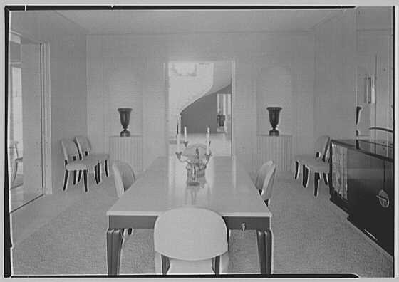 Caryll Tucker, residence in Hobe Sound, Florida. Dining room, to hall
