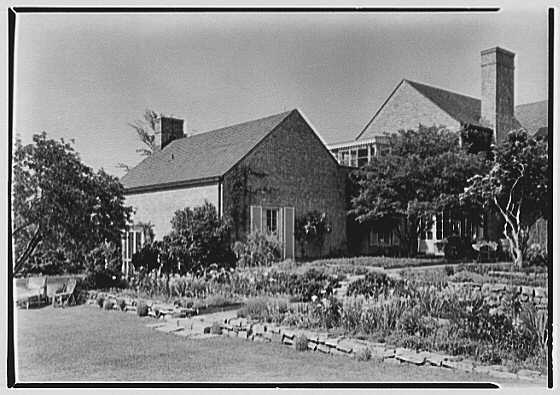 Gerald F. Warburg, residence on Cedar Swamp Rd., Brookville, Long Island. Terrace from right