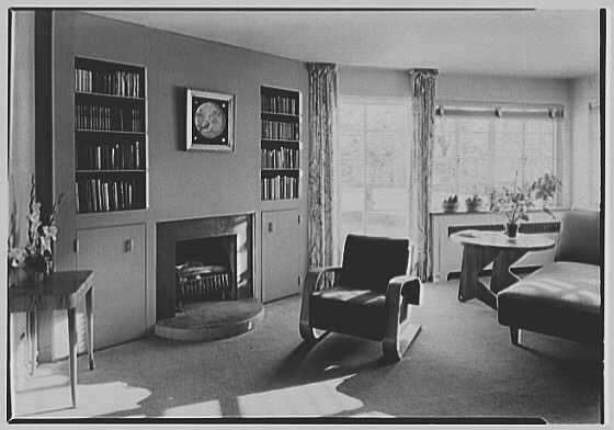 Thomas S. Holden, residence on Tory Hill Rd., Darien, Connecticut. Sitting room, to fireplace