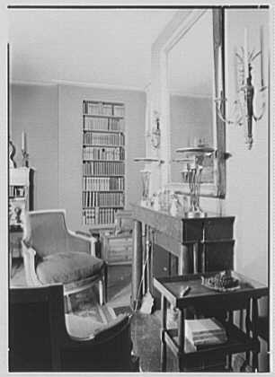 Mrs. Pierre Bedard, residence at 137 E. 38th St., New York City. Living room, sharp to fireplace