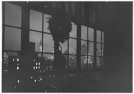 Mrs. Christopher J. Mileham, residence at 350 E. 57th St., New York City. Night view through library window