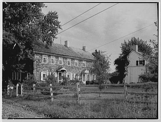 Mr. and Mrs. Eldredge Snyder, Carding Mill Farm, residence in Kellers Church, Pennsylvania. West facade, from road