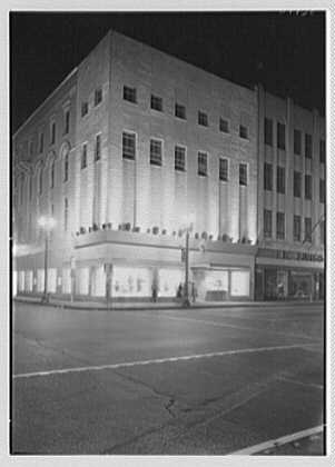 Bernard Shultz Department Store, business at Third and Main St., Evansville, Indiana. Night exterior