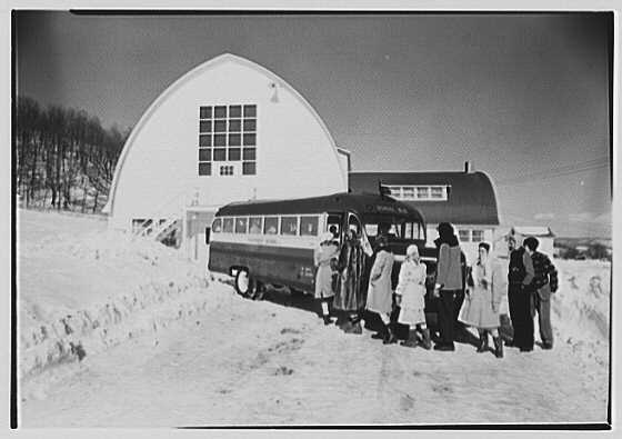 Viewpoint School, Amenia, New York. Exterior III, with school bus
