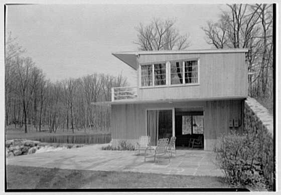 Norman Kent, residence on Eastern Rd., Weston, Connecticut. Wall and house